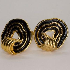 Trifari Classic Black and Gold Enamel Clip Earring